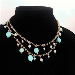JCrew long flat bead blue & gold necklace